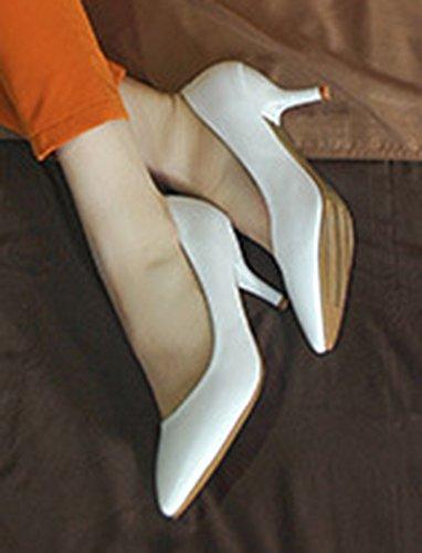 Aisun Femme Mode Bride Cheville Basse Bout Pointu Escarpins Blanc