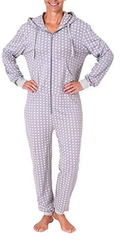 Damen Schlafanzug Einteiler Jumpsuit Langarm in toller Tupfenoptik - 281 267 90 130, Farbe:grau-Melange, Größe2:48/50