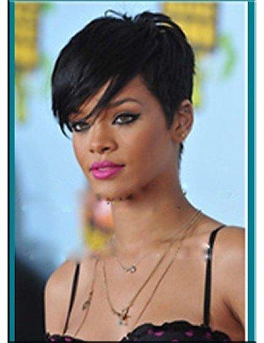 BBDM capless neuen Ankunft rihanna Stil schwarze Farbe 1b kurze gerade synthetische Haarperücken Perücke natürlichen sexy täglich Perücken , 10 (Perücken Rihanna)