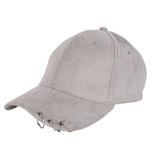 ESHOO Punk Silber Ring Piercing Rock Basic Ball Cap Baseball Mütze Truckers 7 Farben (Baseball-geschenke Für Teen Boys)