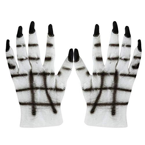 Kostüm Ghost Dance - Fliyeong Halloween Schwarz Weiß Skelett Handschuhe Schädel Kostümzubehör Ghost Bones Handschuhe für Dance Party Kostüm Handschuhe Langlebig und nützlich