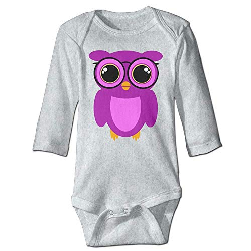 MSGDF Unisex Toddler Bodysuits Cute Nerdy Owl Boys Babysuit Long Sleeve Jumpsuit Sunsuit Outfit Ash
