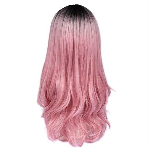 Pour Kostüm Femme - XLWYNG Premium longue perruque ,femmes avec la frange , pour femmes haute température, Ombre Pink 26inches