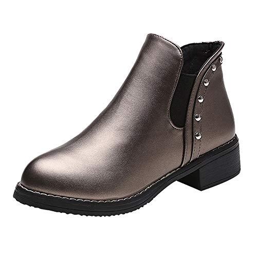 Stiefeletten Damen,Elecenty Frauen Kurzschaft Stiefel Mode Flache Boots Beiläufig Flandell Runder Zeh Schuhe Elegante Winterschuhe Nieten Halbschaft
