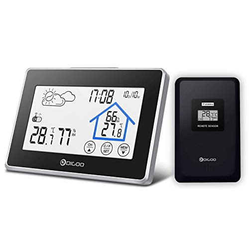 Estación meteorológica con sensor inalámbrico al aire libre, DIGOO DG-TH8380 higrómetro digital...