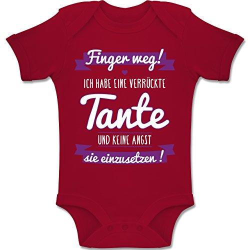 Shirtracer Sprüche Baby - Ich Habe eine verrückte Tante Lila - 1/3 Monate - Rot - BZ10 - Baby Body Kurzarm für Jungen und Mädchen