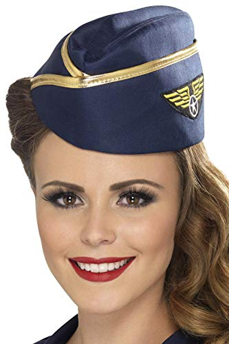 Stewardess-Mütze Blau mit goldenem Rand, One - Stewardess Kostüm Hut