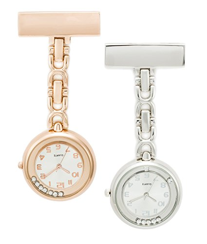 SEWOR Floating Diamond Hanging Pocket Watch 2pcs with Deep Blue Brand Leather Box Great Gift (Rose Gold & Silver)