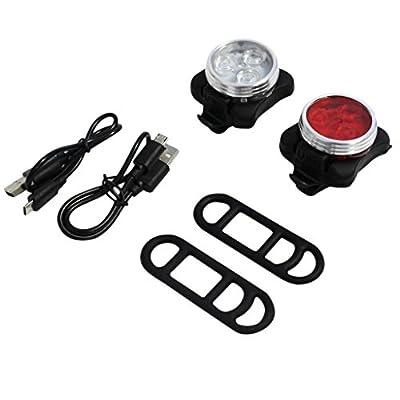 KurtzyTM wiederaufladbares LED-Fahrradlichterset – Sicherheits-Vorder-und-Rücklicht; 4 Einstellungen