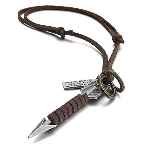Collar de piel y aleación para hombre de Sungpunet, con colgante vintage de flecha, tono marron y plateado