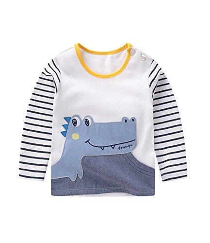 DYLH Jungen Langarmshirt Kinder Baumwolle T-Shirt Langarm Dinosaurier Thermounterwäsche Weiß 18-24 Monate (Dinosaurier-jungen-t-shirt)