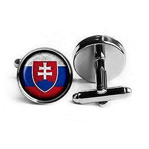 Slovakia Slovakian Flag Slowakei Slowakische Flagge Rhodium Silber Manschettenknöpfe