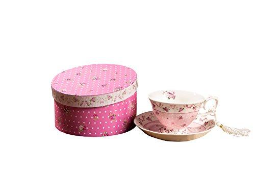 London Boutique Kaffee und Tee-Tassen und Untertassen Set von 2 Vintage Flower Flora Rose Lavendel Geschenk-Box, Keramik, 1pc Set, 11x8cm (Shabby Chic Rose) -