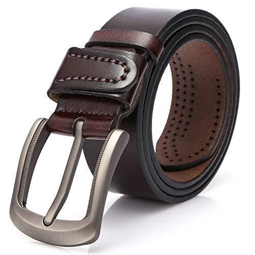 Cinturones Hombre Cuero,Cinturones Hombre Piel. (Marrón, 125 CM ( 39 '' - 45 '' ))