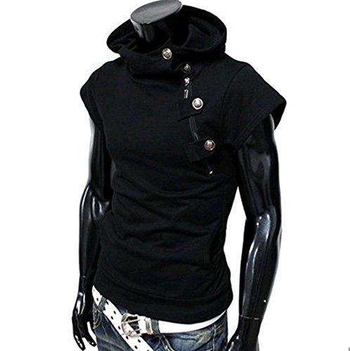 Sommer Cool Sport Button Dekoration T-Shirt für Herren, Amlaiworld Causal Kurzarm Bluse (XL, Schwarz)