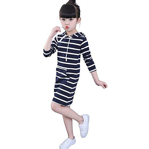 Baby Langes Kleid Hirolan Kinder Herbst Mit Kapuze Kleider Mädchen Lange Hülse Beiläufig Kleider Gestreift Pack die Röcke Mode Schön Babymode 2T-6T Overalls (5T, Marine) (Badeanzug 2t)