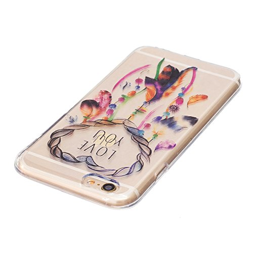 EUWLY Silicone Custodia Per iPhone 6 Plus/iPhone 6s Plus (5.5) Cover TPU Custodia Trasparente Antiurto Sottile Anti Scivolo Guscio TPU Caso Custodia Morbida Flessibile Protettiva Custodia Cover Cellu Piuma Feather