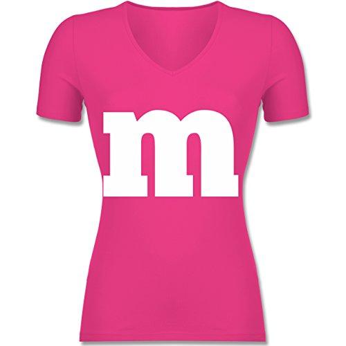 Shirtracer Karneval & Fasching - Gruppen-Kostüm m Aufdruck - S - Fuchsia - F281N - Tailliertes T-Shirt mit V-Ausschnitt für Frauen (Je Erwachsenen-t-shirt)
