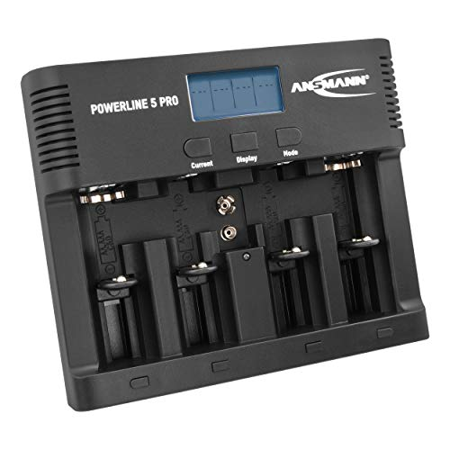ANSMANN Akku-Ladegerät für 4x AA/AAA/C/D + 1x 9V-Block NiMH Akkus - Batterieladegerät mit 5 Ladeprogrammen: Laden, Entladen, Testen, Refresh, Schnellladen + USB | Powerline 5 Pro Akkupflegestation