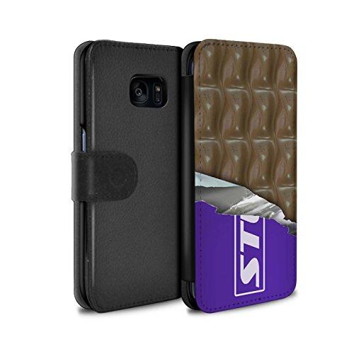 Mobile-edge-schokolade (Stuff4® PU-Leder Hülle/Case/Tasche/Cover für Samsung Galaxy S7 Edge/G935 / Eingewickelt Galaxie Muster/Schokolade Kollektion)