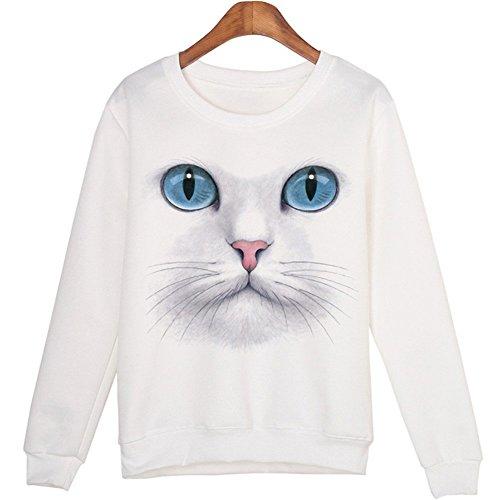 Minetom Automne Hiver Femme Chat Impression Haut Sweats À Manches Longues Mode Cou Rond Sweatshirts Pull Tops A Blanc Chat