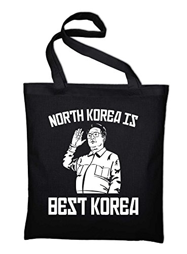 North Korea is Best Korea Fun Jutebeutel, Beutel, Stoffbeutel, Baumwolltasche Schwarz