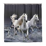 Stoff Badezimmer Duschvorhang Pferde Laufen Himmel wasserdicht und schimmelfest Polyester Stoff mit 12 Kunststoffhaken 180 x 180 cm (72 x 72 Zoll)
