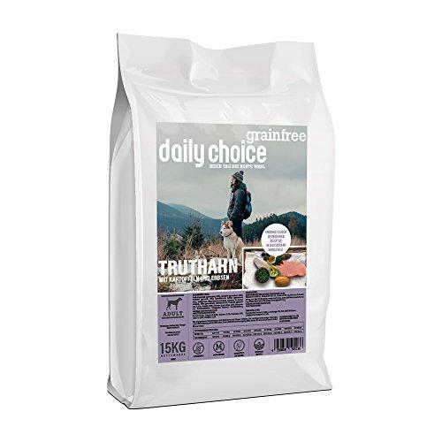 daily choice grainfree | 2 x 15 kg | Trockenfutter für alle Hunderassen | Truthahn mit Kartoffeln und Erbsen | getreidefrei | für besonders Sensible Hunde