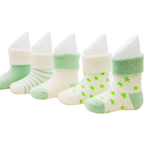 VWU Baby Socke Jungen Socken Erstlingssöckchen Anti Rutsch Dicke Manschette Baumwolle 5er Pack (0-6 monate, Grün)