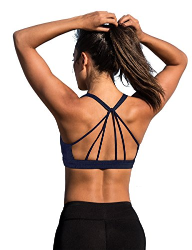 icyZone Damen Racerback Yoga Sport BH Mit Gepolsterten für Fitness Training Top (S, Blueberry) (Top Back Cross)