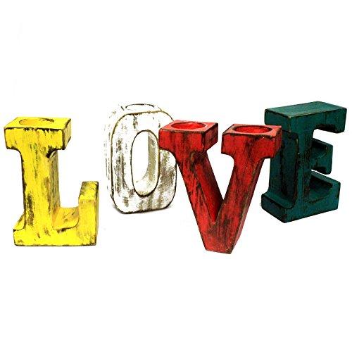 3D grande amore lettere colori assortiti design rustico candela tealight (Amore Candela Di Unità)