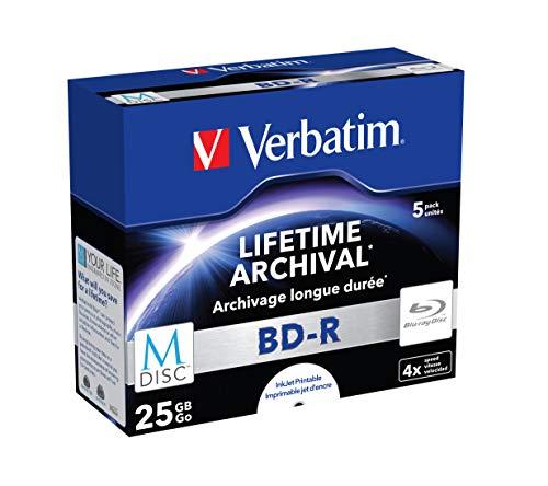 Verbatim M-Disc BD-R mit 25 GB, 4-fache Brenngeschwindigkeit, langlebige Blu-Ray Disc, Rohlinge zum Daten sichern und brennen, 5 Stück (Case), 43823 (Brennen Von Blue Ray)
