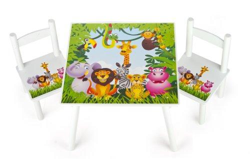 *Table et 2 chaises Enfant Motif Jungle Animaux Chambre Enfant Meuble Enfant Mobilier Chaise d'Enfant Baby Table Pour Enfants Petit Bureau Couleur Blanc Avec Motif Achat
