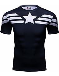 Cody Lundin® T-shirt à manches courtes pour homme Convient pour le sport, le fitness et la course Motif Captain America