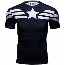Cody lundin–Camiseta de manga corta para hombre, diseño con el logotipo del Capitán América, para hacer ejercicio, correr, fitness, deporte