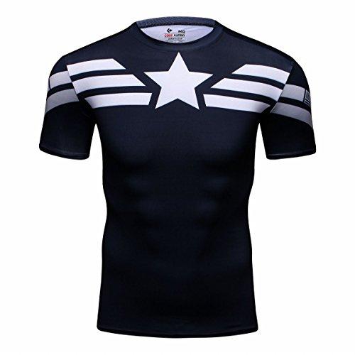 Cody Lundin® Hombres Deporte Apretado Camisa Película Captain héroe Formación Rutina de Ejercicio Capas Base Camiseta (M)