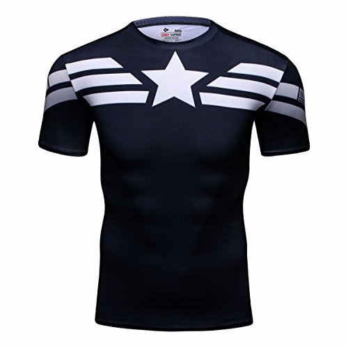 Cody Lundin® Hombres Deporte Apretado Camisa Película Captain héroe Formación Rutina de Ejercicio Capas Base Camiseta (XXL)