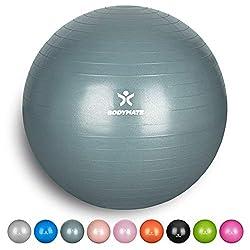 BODYMATE Gymnastikball mit GRATIS E-Book inkl. Luft-Pumpe COOL-Grey-Blue 65cm