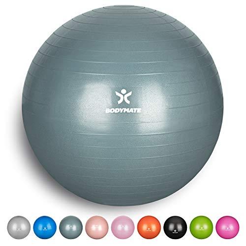 Preisvergleich Produktbild BODYMATE Gymnastikball mit GRATIS E-Book inkl. Luft-Pumpe COOL-Grey-Blue 85cm