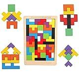 Miya Holzpuzzle Tetris Tangram Puzzlespiel Pädagigisches Spielzeug für Kinder Bunte Hölzerne Puzzles Holzpuzzles Lernspiele ab 2 3 4 5 6 Jahre Geburtstag Junge Mädchen Geschenk