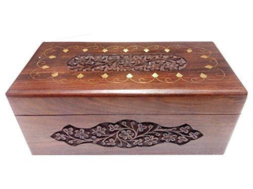 Scatola di legno gioielli, intaglio intarsio 10 X 5 pollici Vintage Box, stoccaggio Confezione regalo per Natale o