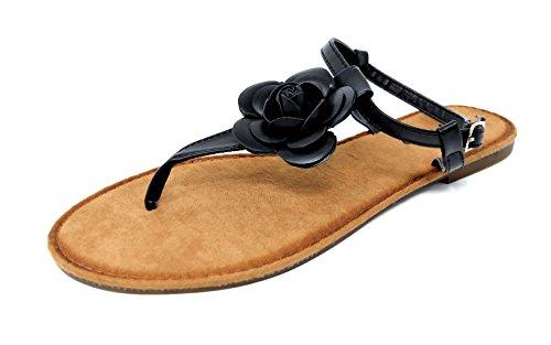 Damen Zehentrenner Blume Blüte Riemchensandale Sandalette Flats Schuhe (8142) Schwarz