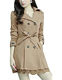 Yasong Women's Girls' Slim Fitted Floral Lace Belted Double Breasted Autumn Jacket Trench Coat
