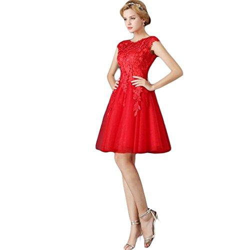 Drasawee Damen A-Linie Kleid Rot - Rot