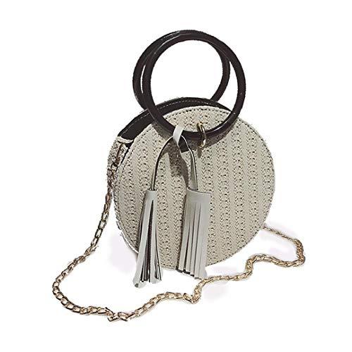 Modische Tragbare Stroh Kleine Runde Tasche Neue Allgleiches Einzelner Schulter Umhängetasche Mode Weiblichen Strand Gewebt Tasche White