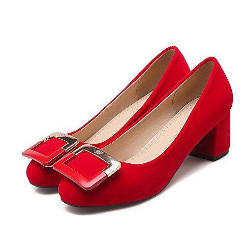 Correct Rouge Rond Femme VogueZone009 Unie à Couleur Talon Chaussures Légeres Tire Suédé qfZ4wASC