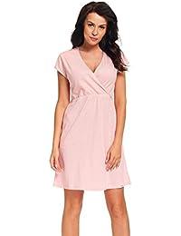 dn-nightwear Damen Umstandsnachthemd / Stillnachthemd PIA aus 100% Baumwolle