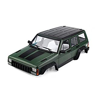 INJORA RC Auto Karosserie Cherokee Car Shell für 313mm Radstand 1/10 RC Crawler Axial SCX10 & SCX10 II 90046 90047 (Painted Hartplastik Grün)