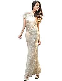 iEFiEL Vestido Elegantes Largos para Dama de Honor Vestido de Gala Brillante de Boda Fiesta Cóctel para Mujer