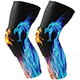 Alaza Fire Dragon Abstract Sports Knee Pads Compression Leg Athletic Sleeve Anti-Slip For Men Women Girls Boys Adult Size M Sold As Pair (2 Sleeves)